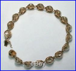 14k Yellow Gold White Pearl Ladies Bracelet 8.9g