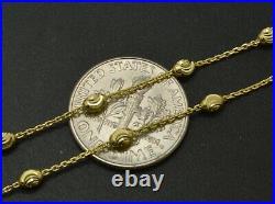 14k Yellow Solid Gold Ball Bead diamond cut Station Link Bracelet 2.5mm 7'