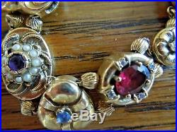 14k gold charm slider bracelet gems diamonds pearls vintage 7 1/4 inches