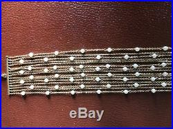 14k yellow gold by the yard 15 strand chains diamond cut seeds pearls bracelet