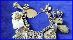 14kt gold retro jeweled charm bracelet -heavy 84.8 grams -estate piece