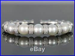 $16K AP South Sea Pearl 18K White Gold 1.50ct Diamond Soft Bangle Cuff Bracelet