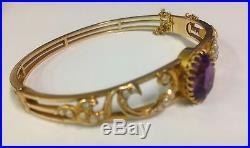 1854 antique Victorian 15k gold amethyst pearl hinged bangle bracelet val $5000