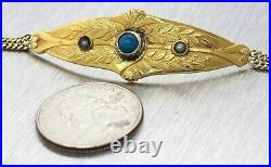 1870 Victorian 18K Yellow Gold Turquoise Pearl Floral Leaf Etched Chain Bracelet