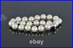1893 Mikimoto 18K White Gold 7mm Akoya Pearl Strand Diamond Clasp 7.75 Bracelet