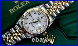 18K GOLD Rolex 31mm Medium size Datejust 2 Tone SS White Pearl with Diamond Lugs