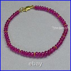 18K Solid Gold Gem Grade Natural Burmese Ruby Smooth Rondelle Bead Bracelet 7.2