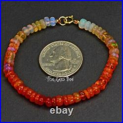 18K Solid Gold Mexican Fire Opal Faceted Rondelle Bead Bracelet 7 Inch