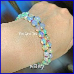 18K Solid Gold Natural Crystal Opal Emerald Ruby Sapphire Bead Bracelet 7 INCH