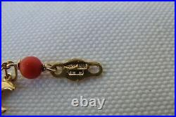 18K Solid Yellow Gold Charms Italian Red Coral Bead Child Bracelet 3.7 Grams