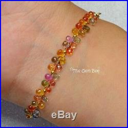 18K Solid Yellow Gold Fine Natural Multi Sapphire Drop Beads Bracelet 6.3