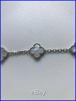 18K Tested Solid White Gold Mother Of Pearl Clover Alhambra Bracelet