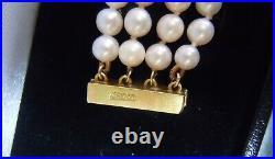 18K Yellow Gold Diamond Four Strand Pearl Bracelet with Mystery Clasp 18Kt 750