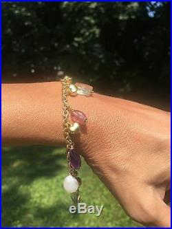 18K Yellow Gold Puffy Heart Pearl Amethyst Quartz Charm Bracelet Bottene Italy