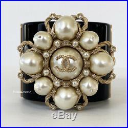 18b 2018 Chanel Black Gold White Pearl CC Logo Crystal Wide Cuff Bracelet