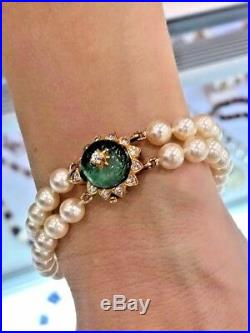 18k Gold Emerald Diamond Clasp 6.25 mm Akoya Pearl Double Strand Bracelet