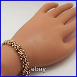 18k Gold Puffy Bead Balls Strung Flowers Link Bracelet 7in New