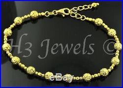 18k Solid yellow gold diamond cut bead ball bracelet 4.40 grams #1131 h3jewels