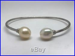 18k White Gold Marco Bicego Africa Pearl Kissing Bangle Bracelet
