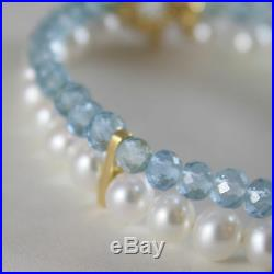 18k Yellow Gold Bracelet With 2 Strands Pearls And Aquamarine 7 In Made In Italy