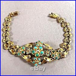 18k Yellow Gold Filigree Bracelet W Turquoise & Black Pearl W European HallMark