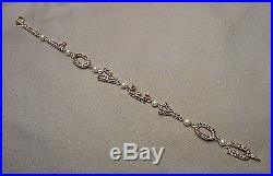 1950s Bracelet 14K Gold & Garnet Letter Links with Pearls spell I LOVE YOU