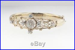 1.00 Ctw Old European & Rose Cut Diamond & Pearl Vintage 14 Kt Bangle Bracelet
