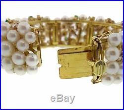 1 Wide Emerald, Diamond and Pearl Bangle Bracelet in 18k Yellow Gold HM1823