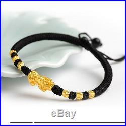 2017 New Real 24K Yellow Gold Bracelet Man Woman's 3D Lucky Pixiu Link 3mm Bead
