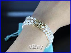 $24,500 Tiffany & Co 18K Yellow Gold Akoya Pearl Round Diamond Bracelet Necklace
