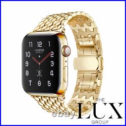 24k Gold Plated Stainless Steel Link Bead Butterfly Band for Apple Watch 44mm
