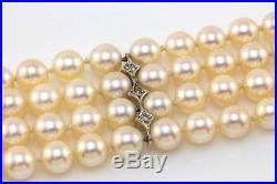 2.20ct Diamond Cultured Pearl Four Strand Bracelet 14K Vintage White Gold