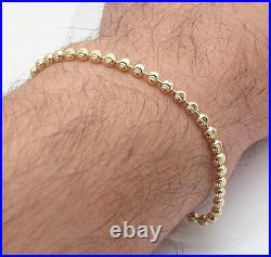 3mm Diamond Moon Cut Ball Bead Chain Bracelet Lobster Clasp Real 10K Yellow Gold