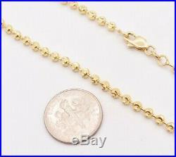 3mm Moon Cut Bead Ball Bracelet Lobster Lock Real SOLID 10K Yellow Gold