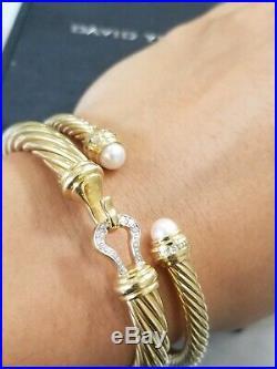 $4000 David Yurman Diamond 18K Gold Cable Classics Pearl Cuff Bracelet 5mm M