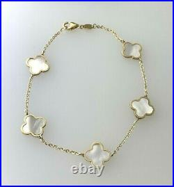 5 Small Four Leaf Clover Bracelet With Mother of Pearl in 14k Y/ Gold 7inch