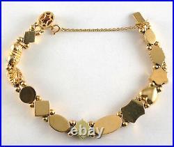 #7691 Vintage 14k Yellow Gold Gemstone Slide Charm Bracelet 14 Charms