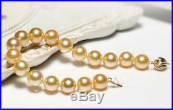7.5-8 Gorgeous AAA+ 10-11mm real Australian south sea golden pearl bracelet 14k