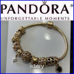 7.5 Pandora All 14K Solid Gold Bracelet + 10 14k Pandora Charms All Authentic
