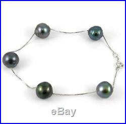 7 9-10mm Authentic Tahitian Black Pearl 14K White Gold Bracelet