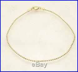 7 Diamond Cut Ball Bead Bracelet Lobster Clasp REAL Solid 14K Yellow Gold