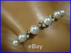 80% Off Fantastic 14k Gold 49 Diamond High Quality Pearl Bracelet
