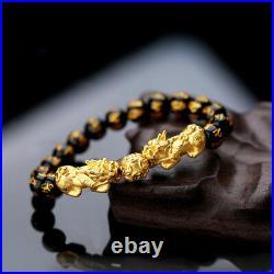 999 New Real 24K Yellow Gold Bracelet Man Woman's 3D Lucky Pixiu Link 10mm Bead