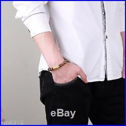 999 PURE 24K Yellow Gold Bracelet 3D 1g Bless Pixiu&10mm Lucky Smoky Quartz Bead