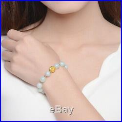 999 Pure 24K Yellow Gold 3D Fine Lotus Link Lucky Light Green Jade Bead Bracelet