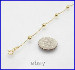 9 Italian Solid Moon Cut Bead Ankle Bracelet Anklet 14K Yellow Gold Clad Silver
