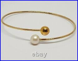 9ct, 9k, 375 Gold, Flexible Torque Freshwater Pearl and Ball Bangle Bracelet