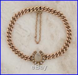 9ct Rose Gold Seed Pearl Horseshoe Bracelet