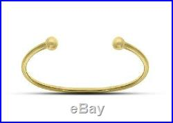 9ct Yellow Gold Solid Bead Kids Childs Torq Ball Bracelet Torque Bangle Gift Box