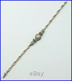 ANTIQUE BRACELET 1920 1940, s 18K GOLD, PLATINUM, PEARL AND DIAMONDS